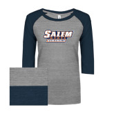 ENZA Ladies Athletic Heather/Navy Vintage Triblend Baseball Tee-Salem State Vikings Word Mark