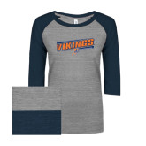 ENZA Ladies Athletic Heather/Navy Vintage Triblend Baseball Tee-Slanted Vikings w/ Viking