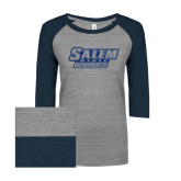 ENZA Ladies Athletic Heather/Navy Vintage Triblend Baseball Tee-Salem State Vikings Word Mark Dark Blue Glitter
