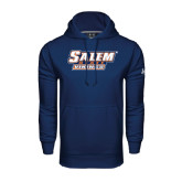 Under Armour Navy Performance Sweats Team Hoodie-Salem State Vikings Word Mark