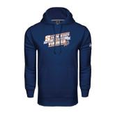 Under Armour Navy Performance Sweats Team Hoodie-Salem State Hockey Slanted