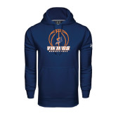 Under Armour Navy Performance Sweats Team Hoodie-Vikings Basketball w/Ball