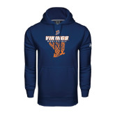Under Armour Navy Performance Sweats Team Hoodie-Vikings Basketball w/Net