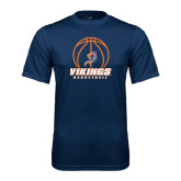 Syntrel Performance Navy Tee-Vikings Basketball w/Ball