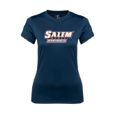 Ladies Syntrel Performance Navy Tee-Salem State Vikings Word Mark