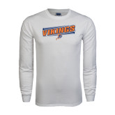 White Long Sleeve T Shirt-Slanted Vikings w/ Viking