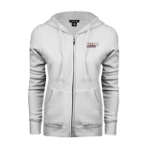 ENZA Ladies White Fleece Full Zip Hoodie-Salem State Vikings Word Mark