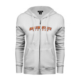 ENZA Ladies White Fleece Full Zip Hoodie-Salem State Vikings Arched