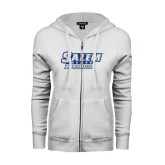 ENZA Ladies White Fleece Full Zip Hoodie-Salem State Vikings Word Mark Dark Blue Glitter