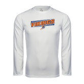 Syntrel Performance White Longsleeve Shirt-Slanted Vikings w/ Viking