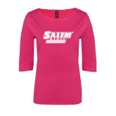 Ladies Dark Fuchsia Perfect Weight 3/4 Sleeve Tee-Salem State Vikings Word Mark