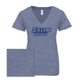 ENZA Ladies Surfer Blue Melange V Neck Tee-Salem State Vikings Word Mark Dark Blue Glitter