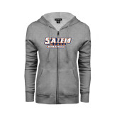 ENZA Ladies Grey Fleece Full Zip Hoodie-Salem State Vikings Word Mark
