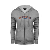 ENZA Ladies Grey Fleece Full Zip Hoodie-Salem State University Arched