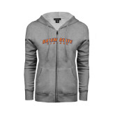 ENZA Ladies Grey Fleece Full Zip Hoodie-Salem State Vikings Arched