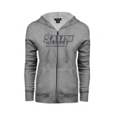 ENZA Ladies Grey Fleece Full Zip Hoodie-Salem State Vikings Word Mark Graphite Glitter