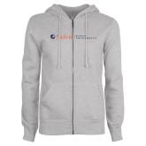 ENZA Ladies Grey Fleece Full Zip Hoodie-Institutional Mark Horizontal