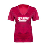 Ladies Pink Raspberry Camohex Performance Tee-Salem State Vikings Word Mark