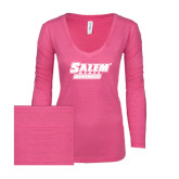 ENZA Ladies Hot Pink Long Sleeve V Neck Tee-Salem State Vikings Word Mark