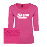 Ladies Dark Fuchsia Heather Tri Blend Lace 3/4 Sleeve Tee-Salem State Vikings Word Mark