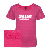 Ladies Dark Fuchsia Heather Tri-Blend Lace Tee-Salem State Vikings Word Mark