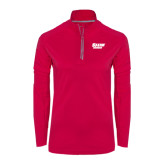 Ladies Pink Raspberry Sport Wick Textured 1/4 Zip Pullover-Salem State Vikings Word Mark
