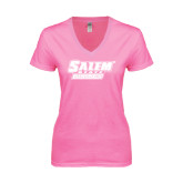 Next Level Ladies Junior Fit Deep V Pink Tee-Salem State Vikings Word Mark