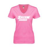 Next Level Ladies Junior Fit Ideal V Pink Tee-Salem State Vikings Word Mark