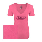 Next Level Ladies Vintage Pink Tri Blend V-Neck Tee-Salem State Vikings Word Mark Hot Pink Glitter