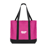Tropical Pink/Dark Charcoal Day Tote-Salem State Vikings Word Mark