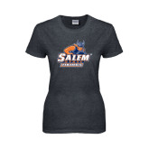 Ladies Dark Heather T Shirt-Primary Logo Distressed