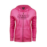 ENZA Ladies Fuchsia Fleece Full Zip Hoodie-Salem State Vikings Word Mark Hot Pink Glitter