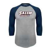 Grey/Navy Raglan Baseball T Shirt-Salem State Vikings Word Mark