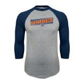Grey/Navy Raglan Baseball T Shirt-Slanted Vikings w/ Viking