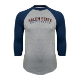 Grey/Navy Raglan Baseball T Shirt-Salem State University Arched