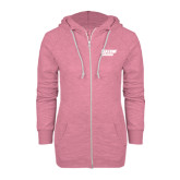 ENZA Ladies Hot Pink Marled Full Zip Hoodie-Salem State Vikings Word Mark