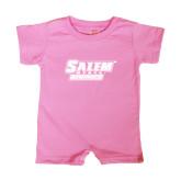 Bubble Gum Pink Infant Romper-Salem State Vikings Word Mark