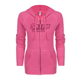 ENZA Ladies Hot Pink Light Weight Fleece Full Zip Hoodie-Salem State Vikings Word Mark Hot Pink Glitter
