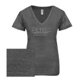 ENZA Ladies Graphite Melange V Neck Tee-Salem State Vikings Word Mark Silver Soft Glitter
