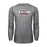 Grey Long Sleeve T Shirt-Salem State Vikings Word Mark