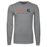 Grey Long Sleeve T Shirt-Institutional Mark Vertical