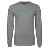 Grey Long Sleeve T Shirt-Institutional Mark Horizontal