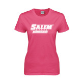 Ladies Fuchsia T Shirt-Salem State Vikings Word Mark