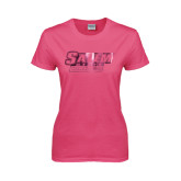 Ladies Fuchsia T Shirt-Salem State Vikings Word Mark Foil