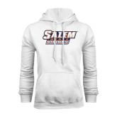 White Fleece Hoodie-Salem State Vikings Word Mark