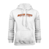 White Fleece Hoodie-Salem State Vikings Arched