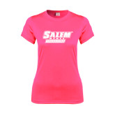 Ladies Performance Hot Pink Tee-Salem State Vikings Word Mark