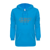 ENZA Ladies Pacific Blue V Notch Raw Edge Fleece Hoodie-Salem State Vikings Word Mark Silver Soft Glitter