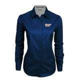 Ladies Navy Twill Button Down Long Sleeve-Salem State Vikings Word Mark