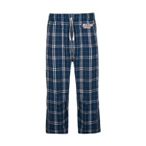 Navy/White Flannel Pajama Pant-Salem State Vikings Word Mark